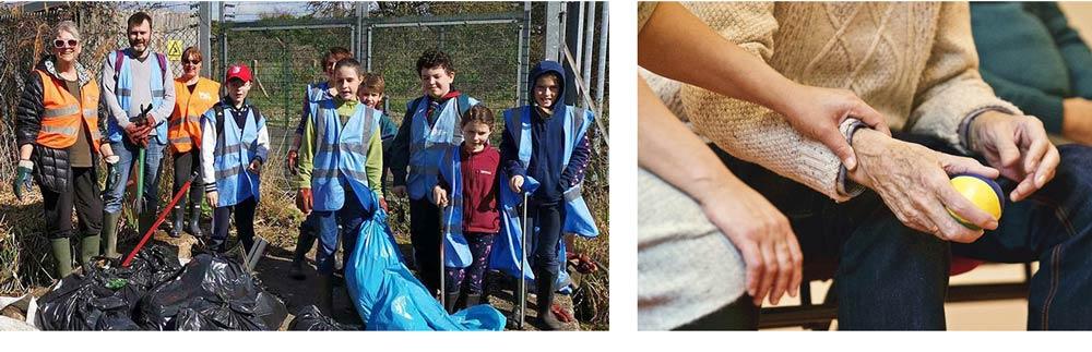 Kids engaged in a trash clean-up effort