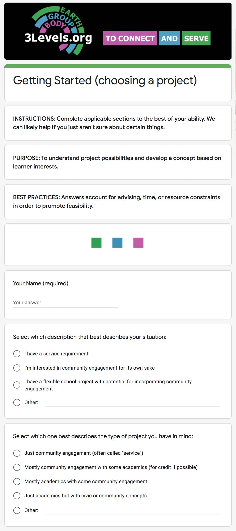Project selection form